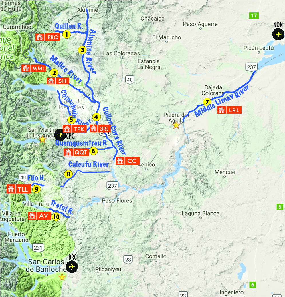 The Best Rivers In Northern Patagonia Dry Fly Fishing - Argentina map rivers